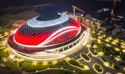 亚运场馆灯光秀精彩亮相